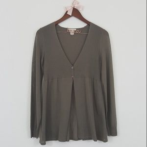 White + Warren Olive Green Two Button Cardigan S